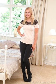 Lovely blonde Summer teasing with her juicy tits in nylons in her bedroom