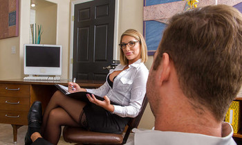 Glasses topped pornstar August Ames taking hardcore office sex in stockings
