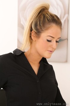 Blonde secretary with ponytail Lola A exposes her big tits & teases in nylons