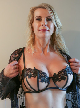 Sexy mature blonde Sammi Rox in sheer lace lingerie toying pussy close up