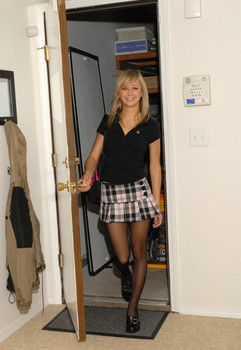Hot blonde Teen Kasia removes short skirt & pantyhose to show sheer panties
