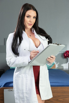 Buxom doctor Angela White peels off her uniform to flaunt her beautiful curves