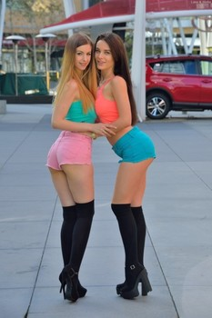 Babes in tiny shorts Lana & Stella show off their sexy asses & tits in public