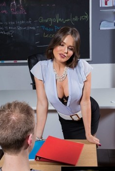 Busty teacher Krissy Lynn fucks a blonde stud and gives him a titjob