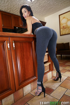 Hot well stacked Latina Canela Skin teasing with her perfect pitchy booty