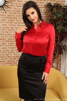 Cara Ruby in secretary outfit strips to black lingerie and flashes her breasts
