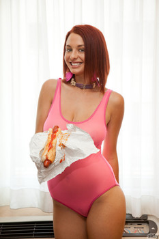Huge boobed teenage redhead Jessica Robbin posing in her pink bodysuit & heels